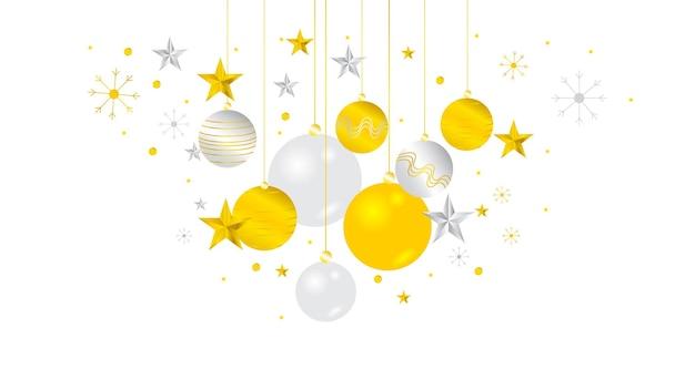 Boules De Noël Gloden élégantes De Luxe. Flocons De Neige, Boule D'étoile En Métal 3d Brillant. Vecteur Premium