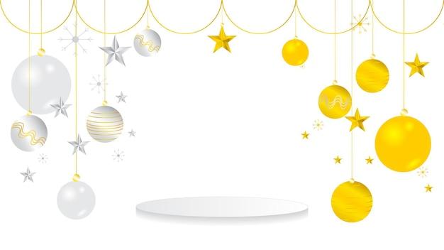 Boules de noël gloden élégantes de luxe. flocons de neige, boule d'étoile en métal 3d brillant.