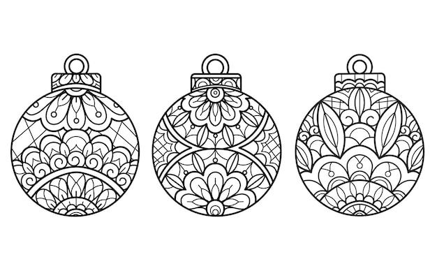 Boules de noël, illustration de croquis dessinés à la main pour livre de coloriage adulte.