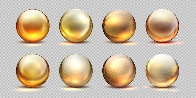 Boules d'or de collagène. huile cosmétique réaliste, goutte de sérum liquide, pilules 3d isolées transparentes. ensemble de gouttes de collagène jaune