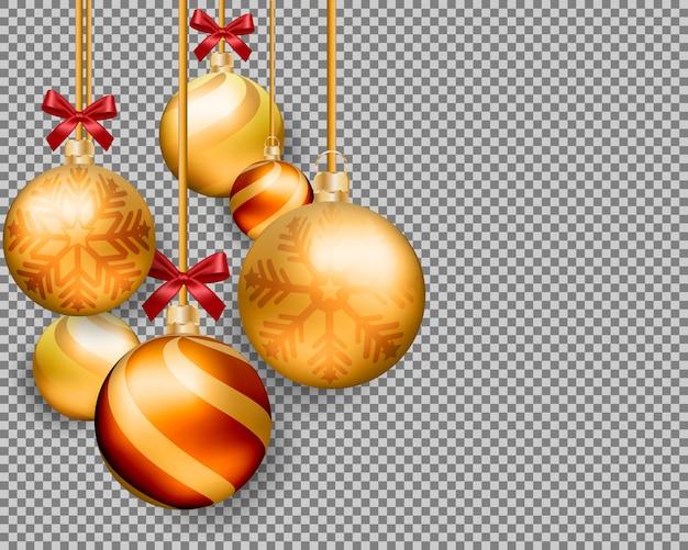 Boules d'or de noël 3d isolés sur fond transparent.