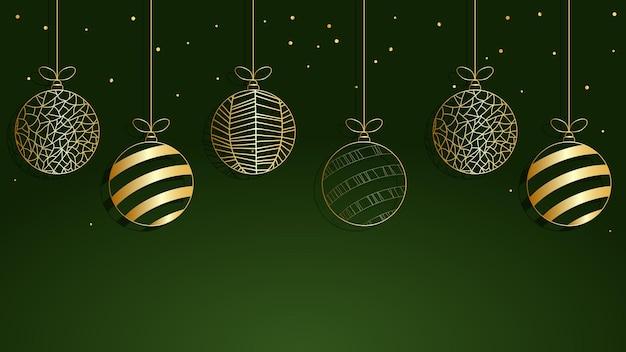 Boules d'or pour un arbre de noël ensemble de boules de noël fond de noël