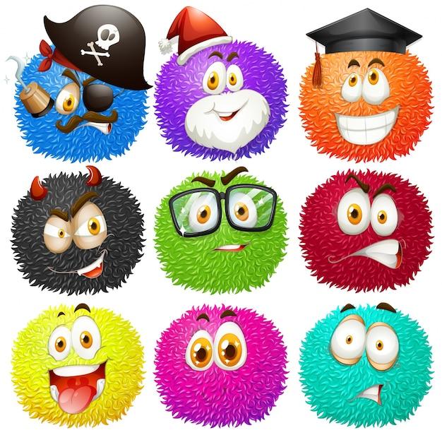 Boules pelucheuses colorées avec des visages