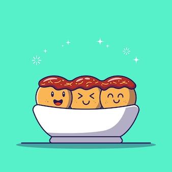 Boules de poulpe takoyaki mignon et heureux dans un bol plat icône illustration isolé