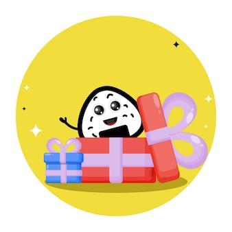 Boules de riz dans des cadeaux de logo de personnage mignon