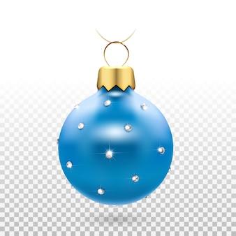 Boules de sapin de noël avec diamants étincelants. décor de nouvel an blue home