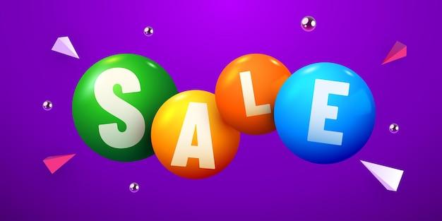 Boules ou sphères abstraites de fond de remise avec la bannière d'offre spéciale de mot de vente