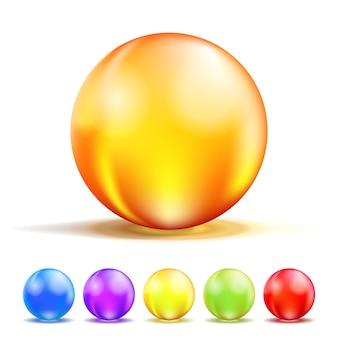 Boules de verre colorées isolées