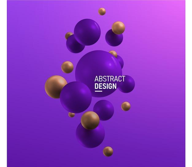 Boules verticales violettes et dorées. abstrait.