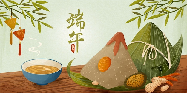 Boulettes de riz géantes sur la bannière de table en bois, bannière du festival des bateaux-dragons