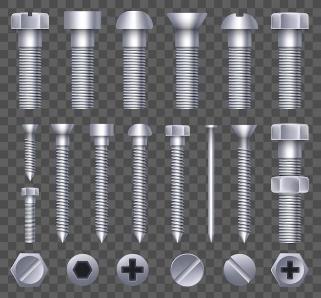 Boulon en laiton, vis à métal, clous en fer, rivets.