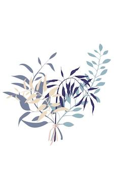 Bouquet abstrait de branches feuille plante illustration botanique abstraite image vectorielle stock