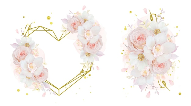 Bouquet d'aquarelle et cadre d'amour d'orchidée rose rose et de fleur d'anémone