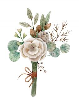 Bouquet aquarelle dessiné à la main