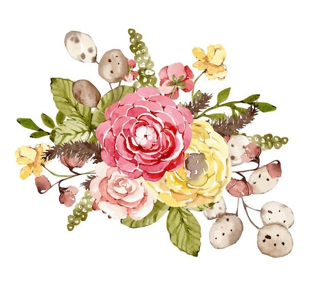 Bouquet d'aquarelle avec des fleurs beiges d'automne et des feuilles sèches