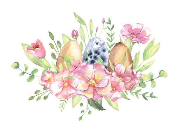 Bouquet d'aquarelle avec des fleurs oeufs de pâques