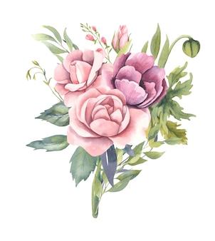 Bouquet d'aquarelle avec des fleurs roses.