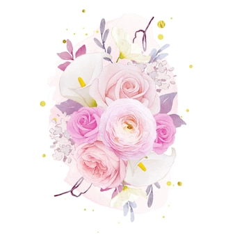 Bouquet d'aquarelle de lis rose rose et de fleur de renoncule