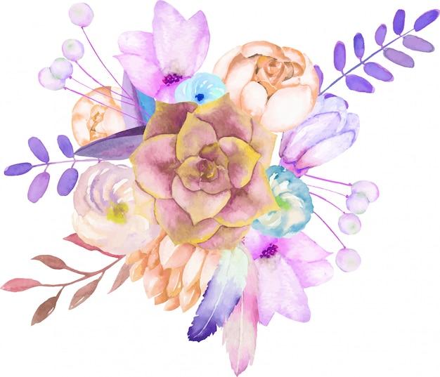 Bouquet à l'aquarelle de plantes succulentes et de fleurs