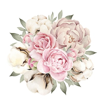 Bouquet d'aquarelle avec rose pivoine et fleur de coton