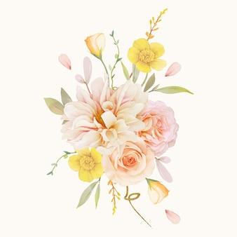Bouquet aquarelle de roses et de dahlia