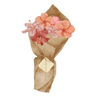 Bouquet d'arrangement de fleurs d'hibiscus tropical aquarelle peint à la main