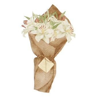 Bouquet d'arrangement de fleurs de lys blanc tropical aquarelle peint à la main
