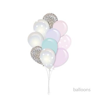 Bouquet de ballons brillants.