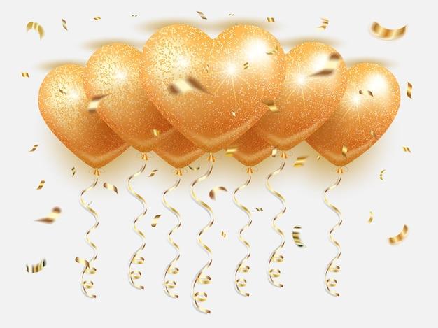 Bouquet de ballons dorés en forme de coeur - bannière. voler vers le haut, avec des confettis dorés et de la serpentine. pour la saint valentin
