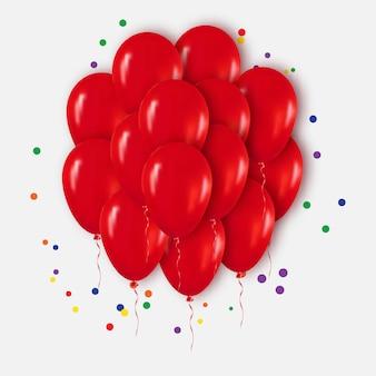 Bouquet de ballons rouges réalistes pour la fête, les célébrations, joyeux anniversaire.