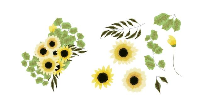 Bouquet de bouquets de vecteur avec des fleurs jaunes d'arrangement de tournesol avec des branches d'arbres