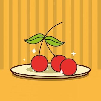 Bouquet de cerises sur le plat de fruits frais savoureux