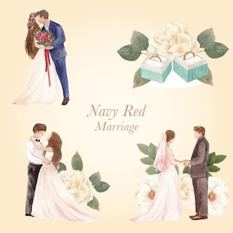 Bouquet avec concept de mariage marine rouge, style aquarelle
