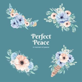 Bouquet avec concept paisible de fleur bleue, style aquarelle