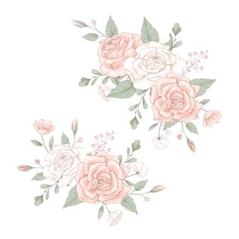 Bouquet une couronne de roses délicates.