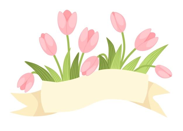 Bouquet décoratif de printemps de tulipe rose avec ruban beige
