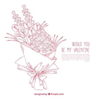 Bouquet dessiné à la main fantastique prêt pour saint valentin