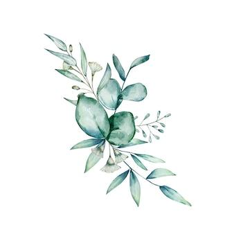 Bouquet d'eucalyptus aquarelle.