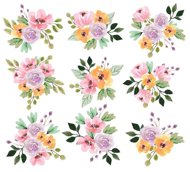 Bouquet de fleurs aquarelle avec pivoines pink et rose pourpre tendre