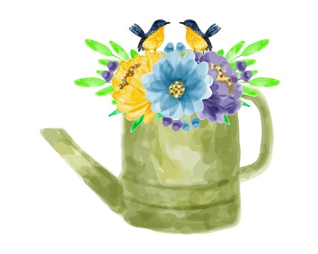 Bouquet de fleurs et arrosoirs à l'aquarelle