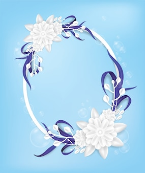 Bouquet de fleurs blanches sur le cadre ovale.