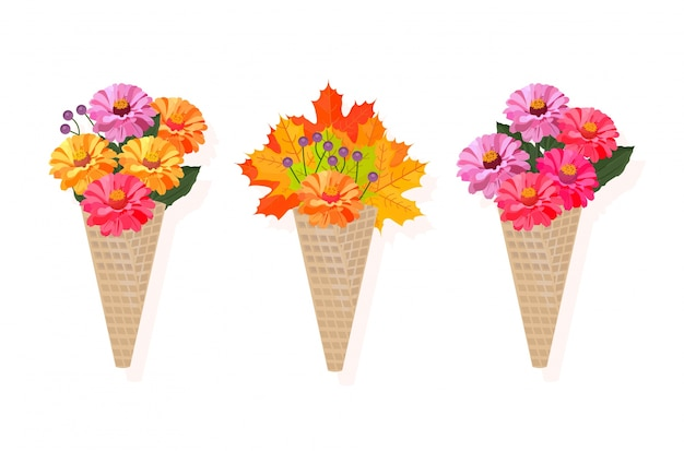 Bouquet de fleurs dans un cône illustration de fond de vecteur
