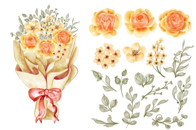 Un bouquet de fleurs dans un emballage en papier avec des images clipart isolées de rose jaune orange et de feuilles