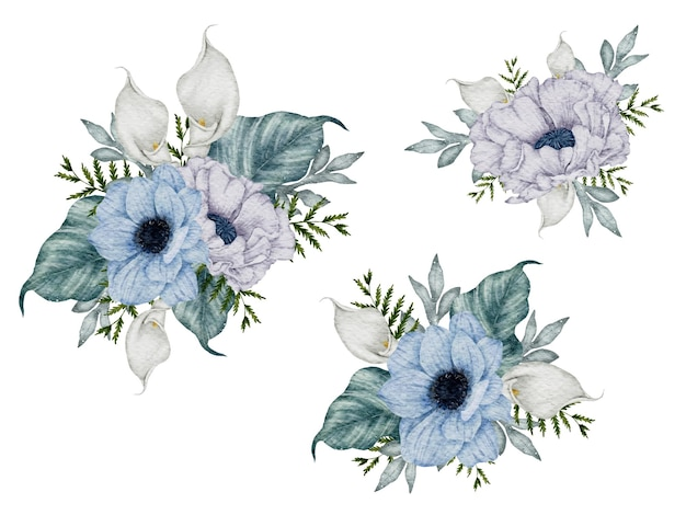 Bouquet de fleurs ensemble aquarelle peinture à la main