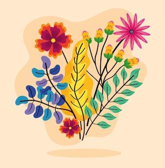 Bouquet de fleurs et de feuilles