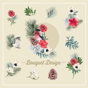 Bouquet de fleurs d'hiver avec des oiseaux, feuillages, fleurs