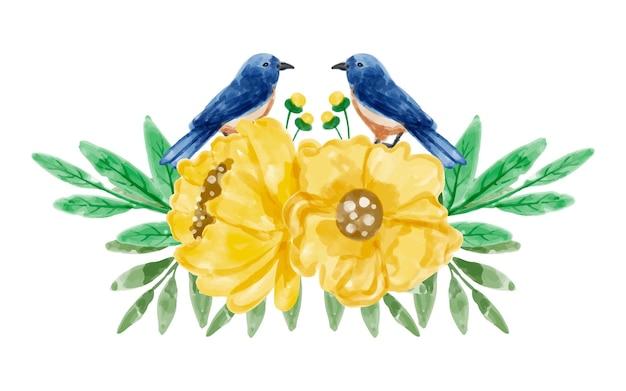 Bouquet de fleurs jaunes et d'oiseaux à l'aquarelle