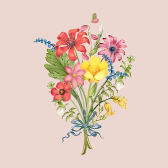 Bouquet de fleurs de marguerite rouge sur fond rose, remixé d'œuvres de pierre-joseph redouté