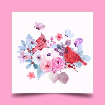 Bouquet de fleurs et d'oiseaux
