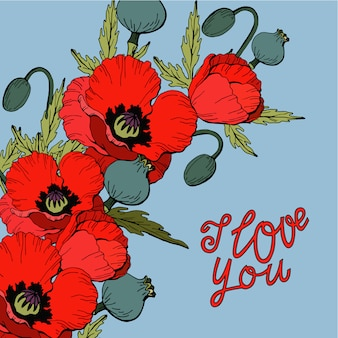 Bouquet de fleurs de pavot rouge avec lettrage je t'aime